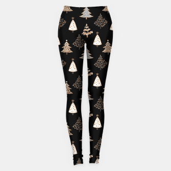 Seamless Merry Christmas abstract fur tree pine tree black Leggings thumbnail image
