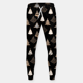 Seamless Merry Christmas abstract fur tree pine tree black Sweatpants thumbnail image
