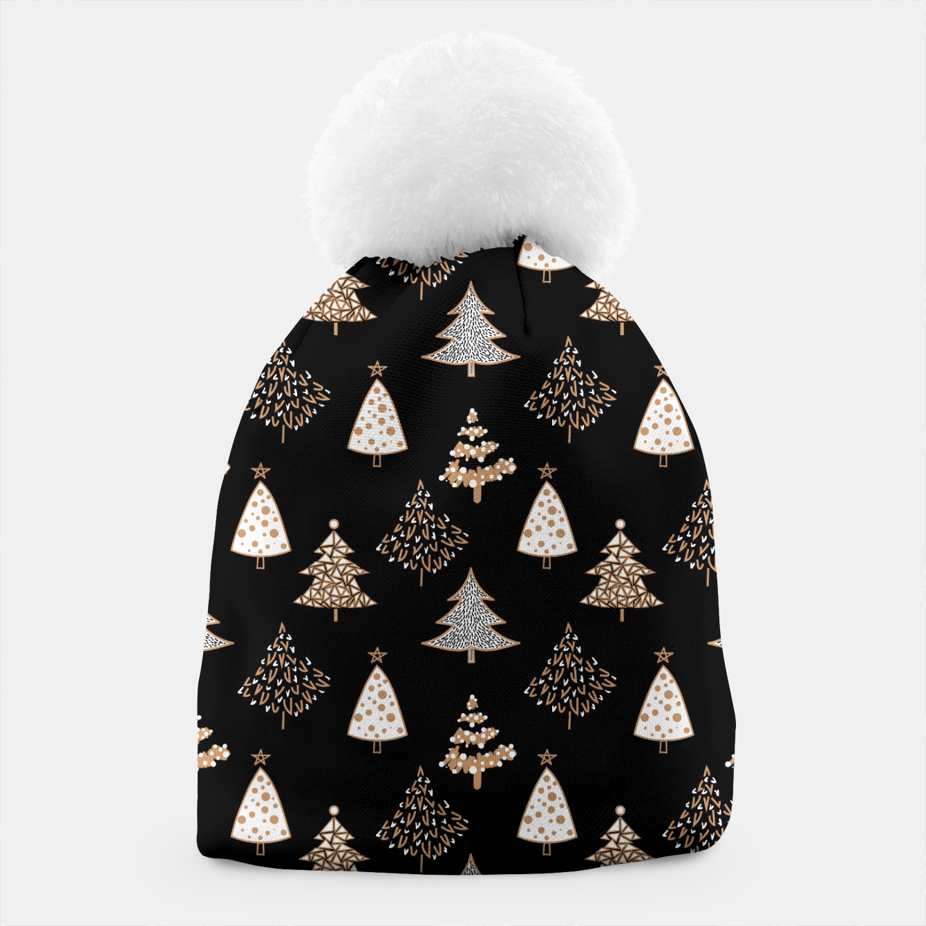 Image of Seamless Merry Christmas abstract fur tree pine tree black Beanie - Live Heroes
