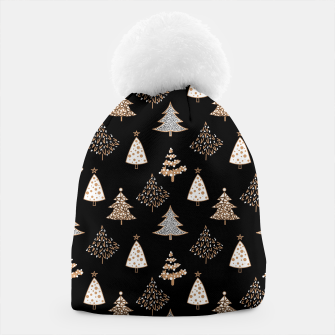 Miniatur Seamless Merry Christmas abstract fur tree pine tree black Beanie, Live Heroes