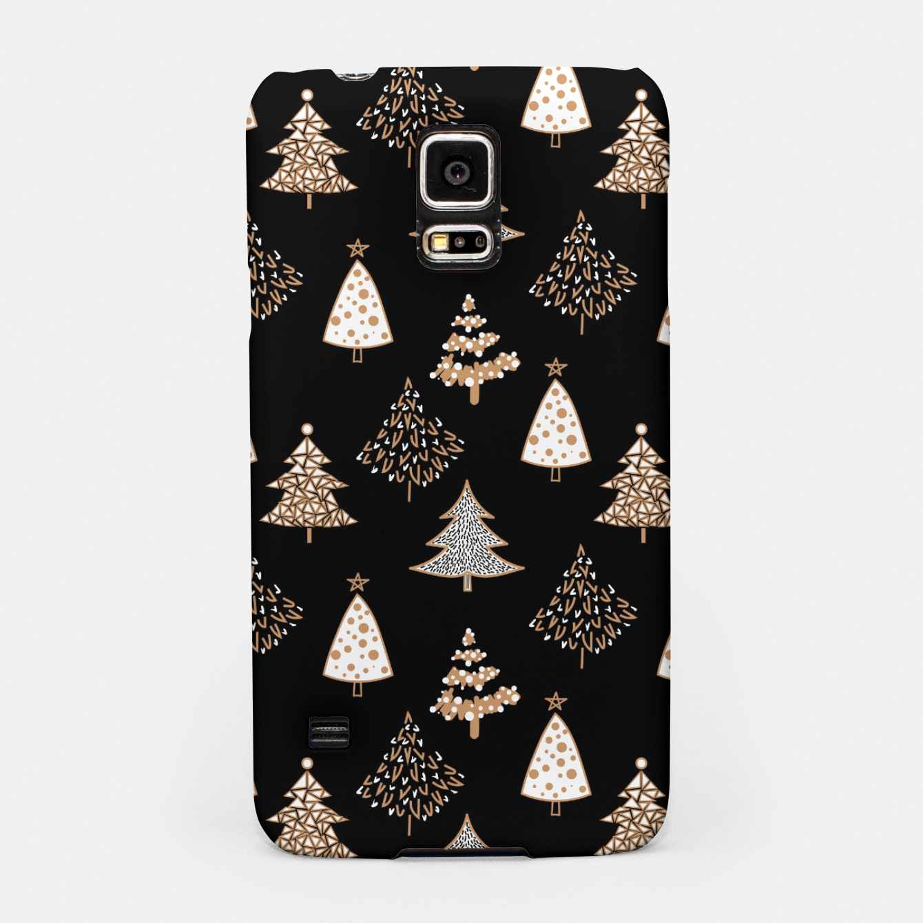 Image of Seamless Merry Christmas abstract fur tree pine tree black Samsung Case - Live Heroes