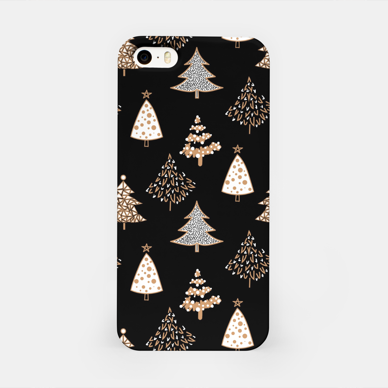 Image of Seamless Merry Christmas abstract fur tree pine tree black iPhone Case - Live Heroes