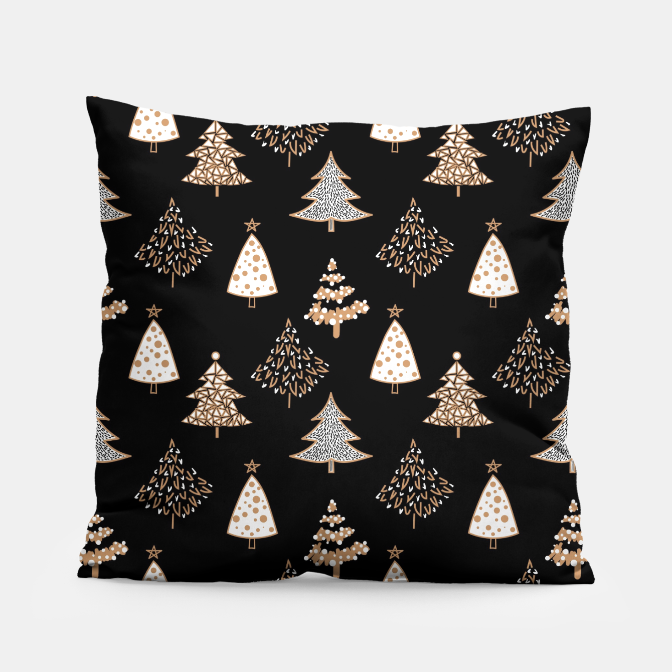 Foto Seamless Merry Christmas abstract fur tree pine tree black Pillow - Live Heroes