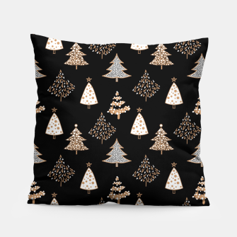 Seamless Merry Christmas abstract fur tree pine tree black Pillow thumbnail image