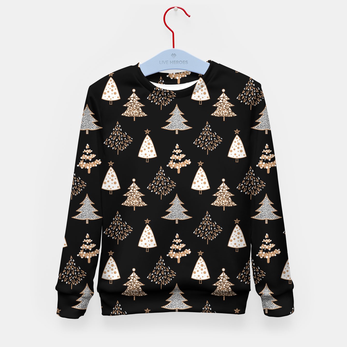 Image of Seamless Merry Christmas abstract fur tree pine tree black Kid's sweater - Live Heroes