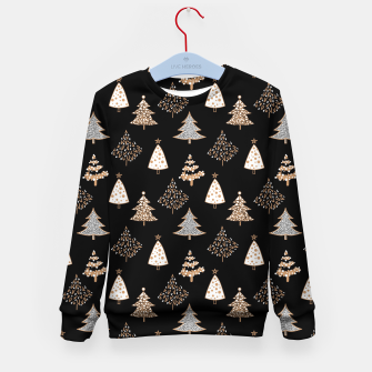 Seamless Merry Christmas abstract fur tree pine tree black Kid's sweater thumbnail image