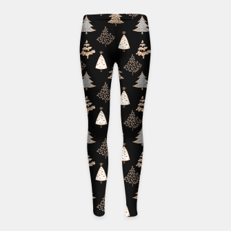 Seamless Merry Christmas abstract fur tree pine tree black Girl's leggings thumbnail image