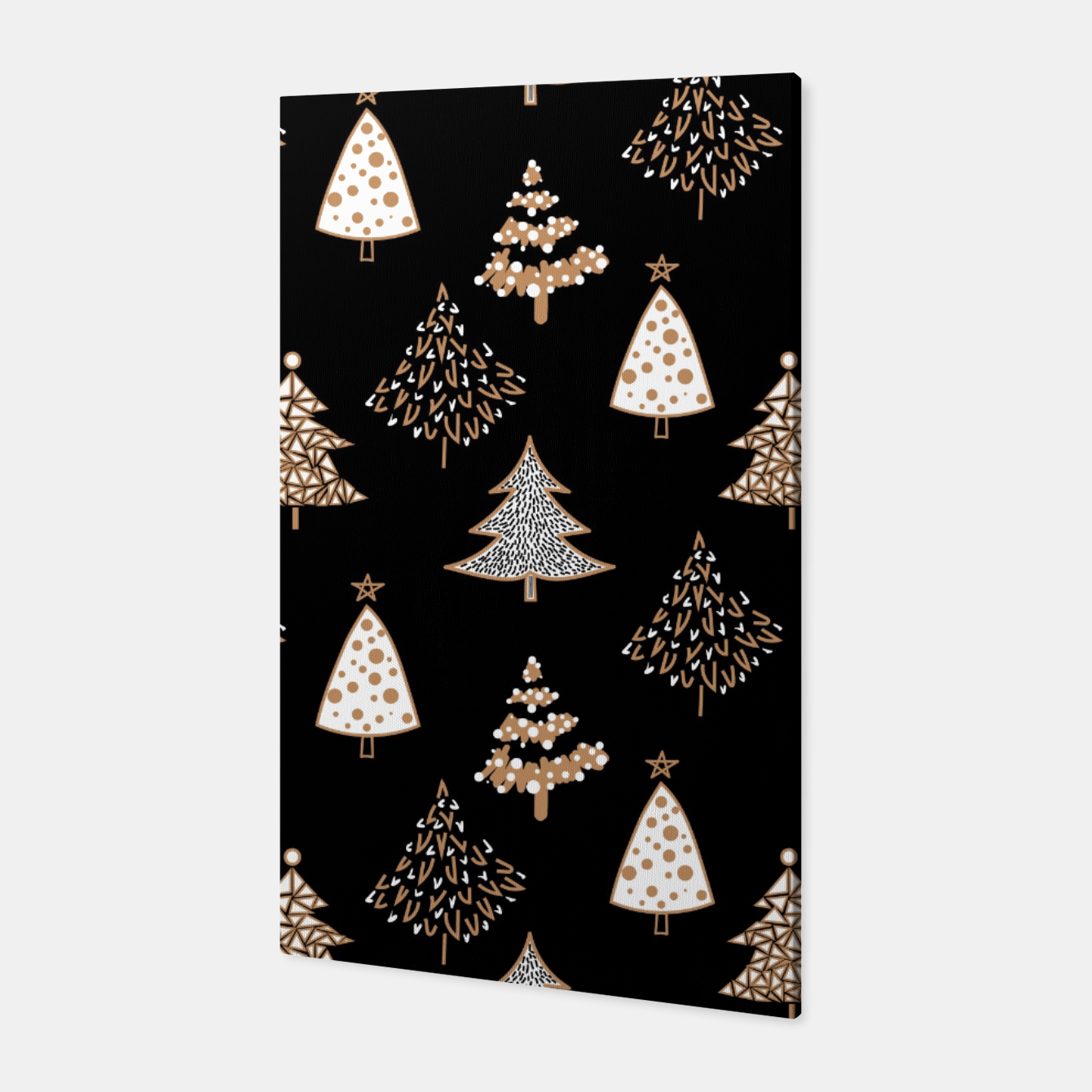Foto Seamless Merry Christmas abstract fur tree pine tree black Canvas - Live Heroes