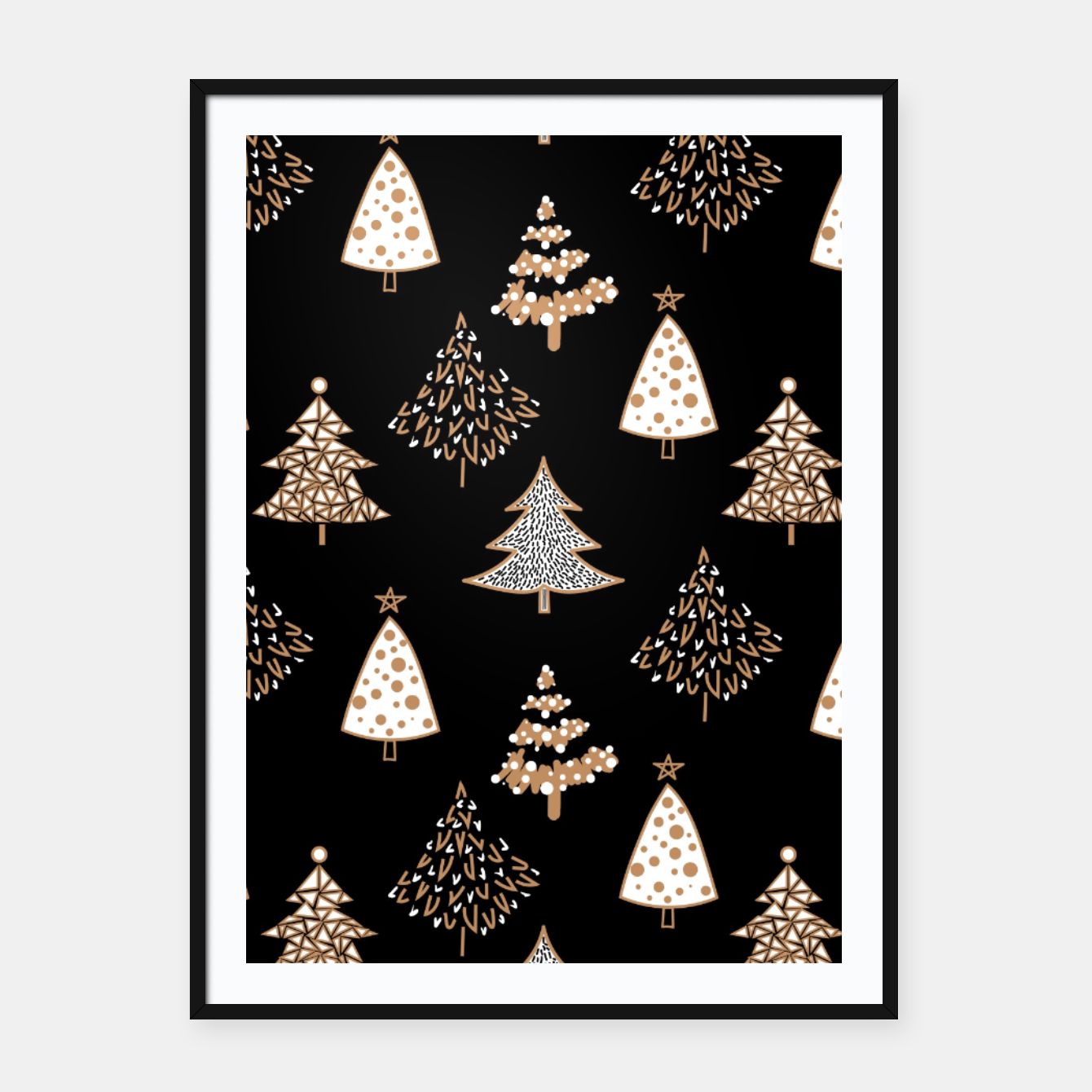 Foto Seamless Merry Christmas abstract fur tree pine tree black Framed poster - Live Heroes
