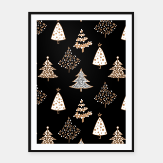Seamless Merry Christmas abstract fur tree pine tree black Framed poster Bild der Miniatur