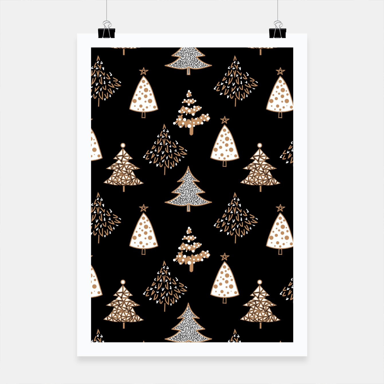 Image of Seamless Merry Christmas abstract fur tree pine tree black Poster - Live Heroes