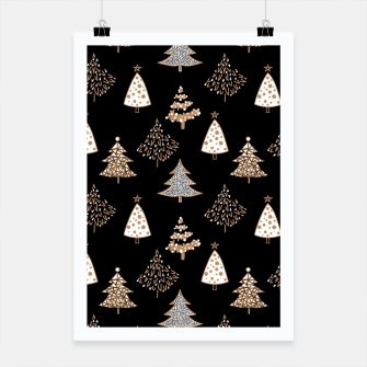 Seamless Merry Christmas abstract fur tree pine tree black Poster Bild der Miniatur