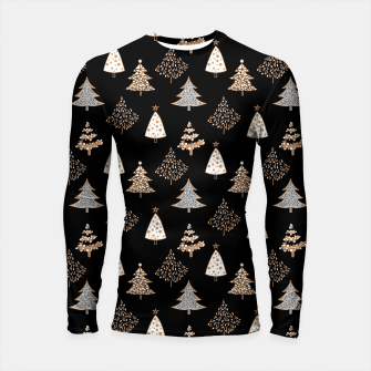 Seamless Merry Christmas abstract fur tree pine tree black Longsleeve rashguard  Bild der Miniatur