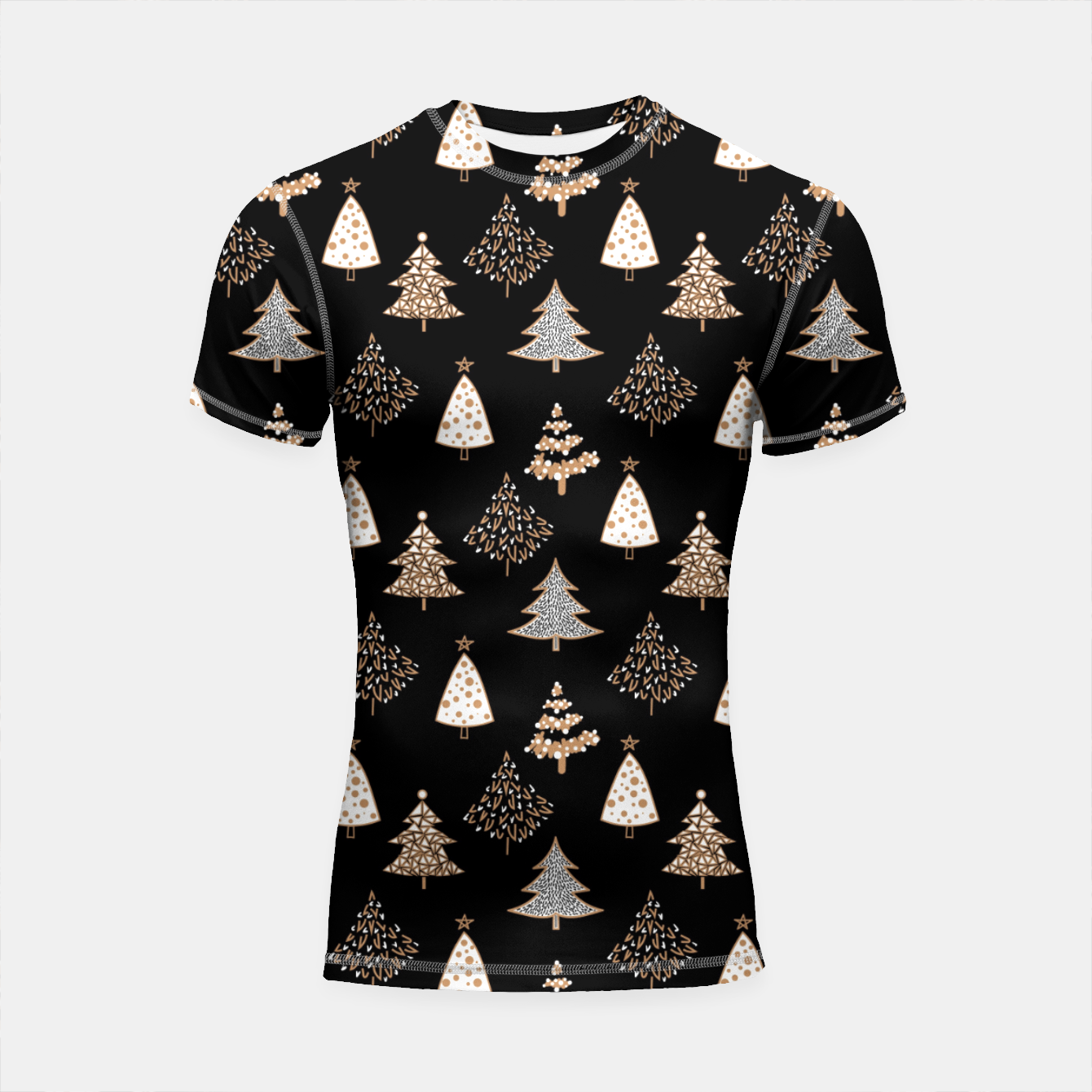 Image of Seamless Merry Christmas abstract fur tree pine tree black Shortsleeve rashguard - Live Heroes