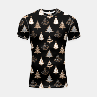 Seamless Merry Christmas abstract fur tree pine tree black Shortsleeve rashguard thumbnail image