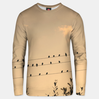 Miniatur BIrds on wires Unisex sweater, Live Heroes