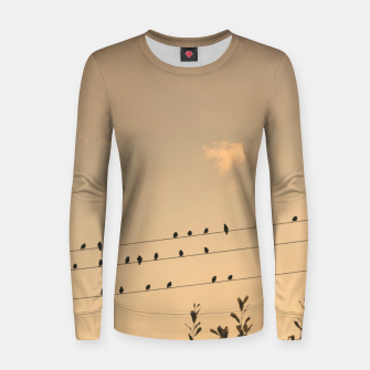 Miniatur BIrds on wires Women sweater, Live Heroes