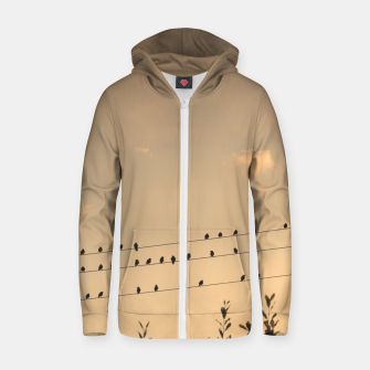 Miniatur BIrds on wires Zip up hoodie, Live Heroes