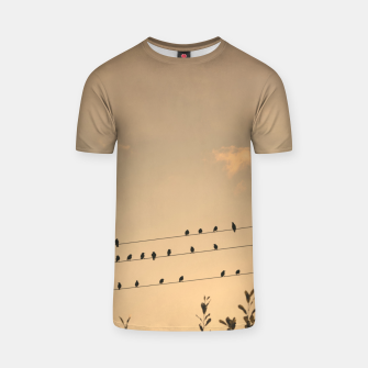 Miniatur BIrds on wires T-shirt, Live Heroes
