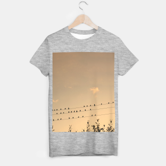 Miniatur BIrds on wires T-shirt regular, Live Heroes
