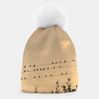 BIrds on wires Beanie Bild der Miniatur