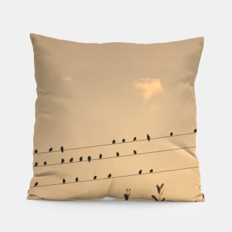Miniatur BIrds on wires Pillow, Live Heroes