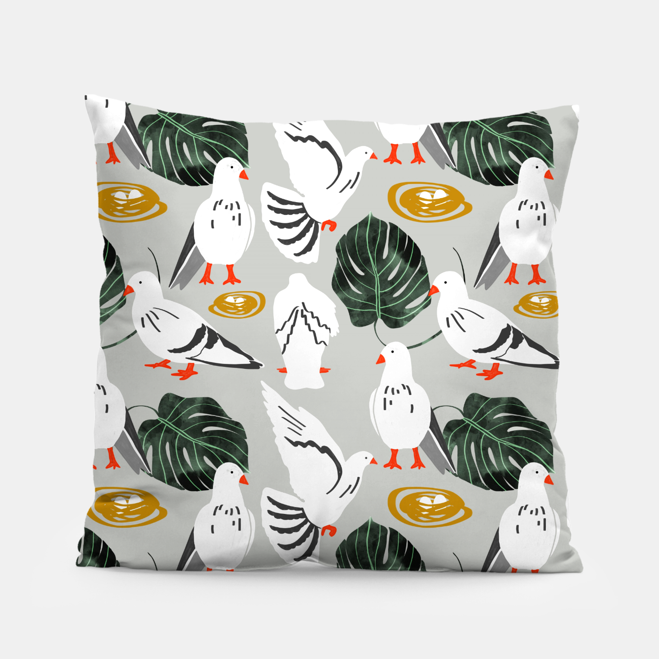Image of White Pigeons Pillow - Live Heroes