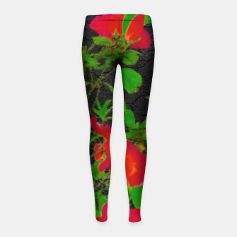 Miniaturka Dark Pop Art Floral Poster Girl's leggings, Live Heroes