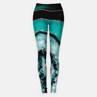 Teal Black Agate with Gold Glitter #1 #gem #decor #art Leggings obraz miniatury