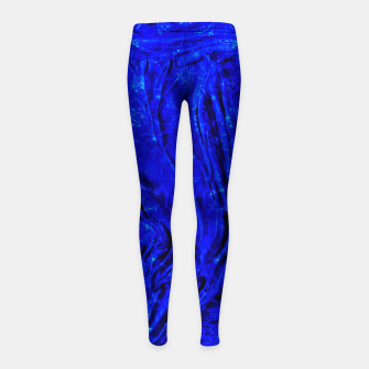 Thumbnail image of Indigo Antique Blue Moroccan Glowing Brushes  Girl's leggings, Live Heroes
