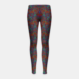 Thumbnail image of Burnt burgandy portal pattern  Girl's leggings, Live Heroes