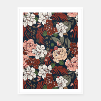 Thumbnail image of Dark floral vintage Cartel con marco, Live Heroes