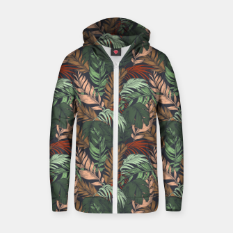 Miniatur Palm leaves at night Sudadera con capucha y cremallera , Live Heroes