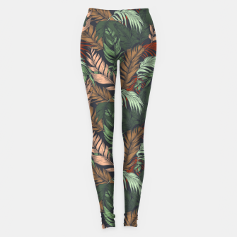 Miniatur Palm leaves at night Leggings, Live Heroes