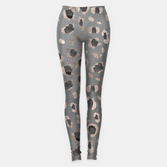 Leopard Animal Print Glam #6 #shiny #pattern #decor #art Leggings imagen en miniatura