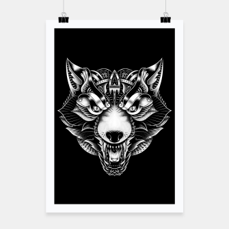 Miniaturka Angry Wolf Ornate Poster, Live Heroes
