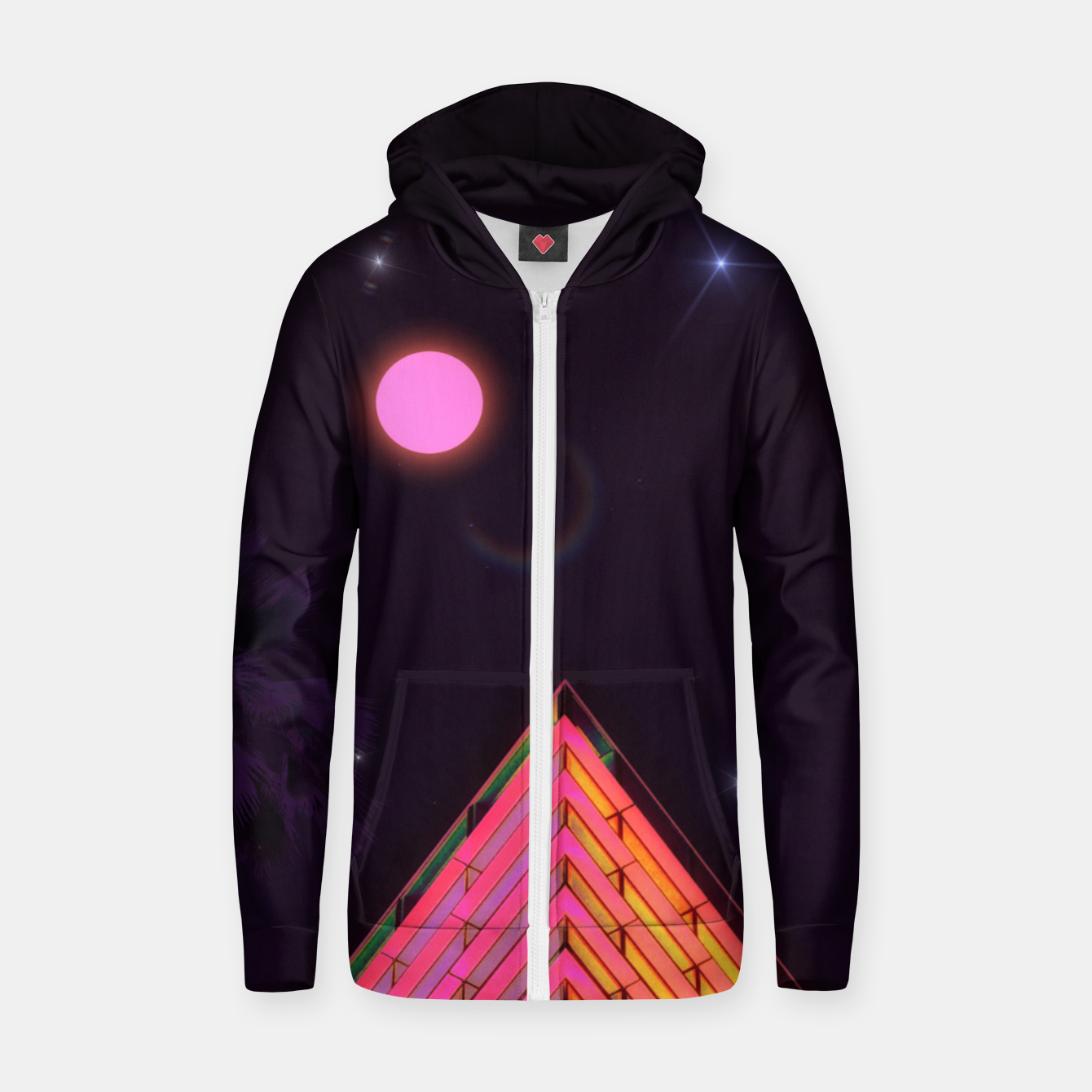 Image of Pink Night Zip up hoodie - Live Heroes