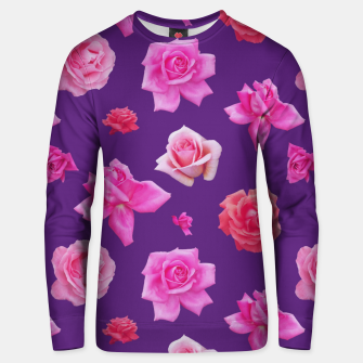 Thumbnail image of Pink Roses on Purple Unisex sweater, Live Heroes