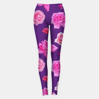 Thumbnail image of Pink Roses on Purple Leggings, Live Heroes