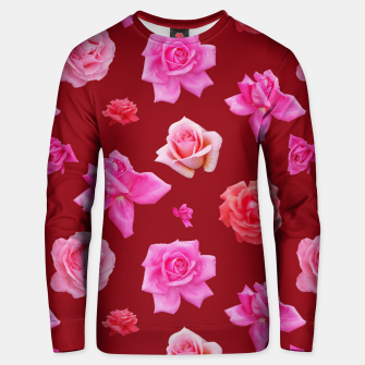 Thumbnail image of Pink Roses on Burgundy Unisex sweater, Live Heroes