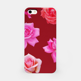 Miniatur Pink Roses on Burgundy iPhone Case, Live Heroes