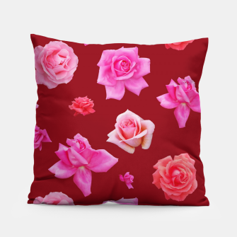 Miniatur Pink Roses on Burgundy Pillow, Live Heroes