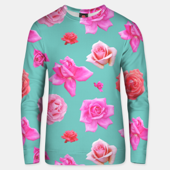 Thumbnail image of Pink Roses on Aqua Unisex sweater, Live Heroes