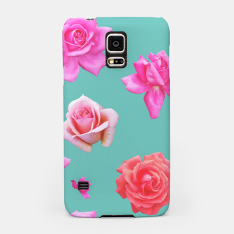 Thumbnail image of Pink Roses on Aqua Samsung Case, Live Heroes
