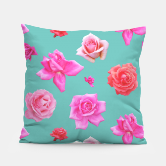 Thumbnail image of Pink Roses on Aqua Pillow, Live Heroes