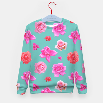 Thumbnail image of Pink Roses on Aqua Kid's sweater, Live Heroes