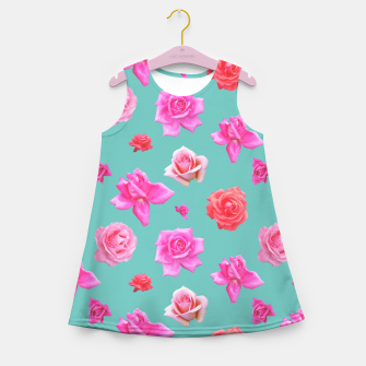 Thumbnail image of Pink Roses on Aqua Girl's summer dress, Live Heroes