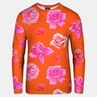 Thumbnail image of Pink Roses on Orange Unisex sweater, Live Heroes