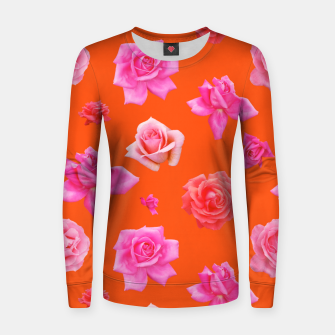 Thumbnail image of Pink Roses on Orange Women sweater, Live Heroes