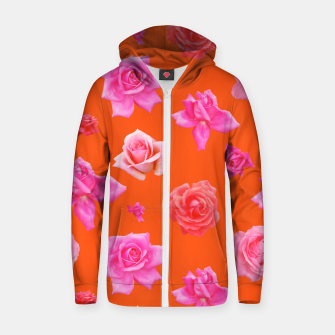 Thumbnail image of Pink Roses on Orange Zip up hoodie, Live Heroes